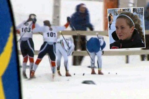 HINDRET: Her kjører Lotta Udnes Weng (nr 103) inn i Anna Svendsen (nr 101), som svenske de svenske kommentatorene mente var et klart regelbrudd og dermed diskgrunnlag av Udnes Weng, som endte opp med å vinne Skandinavisk Cup-sprinten. Svendsen ble nummer fire, etter å ha imponert kraftig gjennom hele dagen, helt frem til oppløpet.