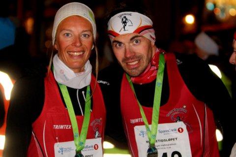 ISKALD BEREGNING: Kristian Ulriksen (t.h.) tok ut alle kreftene han hadde for å vinne halvmaraton under Mørketidsløpet i Tromsø lørdag. Han og samboer Kathrine Kvernmo satser videre og trener som toppidrettsutøvere ved siden av full jobb og avrunding av studier.