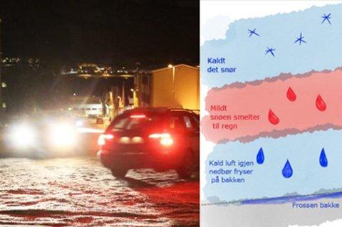 Skal du ut å kjøre i dag? Meteorologene ber alle være ekstra varsom i overgangen til mildvær.