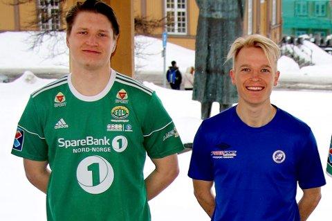 Klare for seriestart i 3. divisjon avdeling 6 - med en drøss med kamper som skal sendes på nordlys.no F.v. Tom Karlsen (Skarp), Vebjørn Valle Grunnvoll (Finnsnes), Christer Johnsgård (Senja), Dan-Roger Roland (Fløya) og Eline Torneus (Skjervøy)