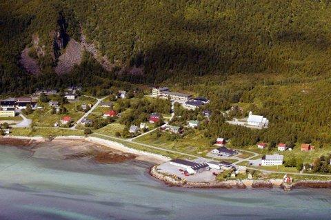 VIL BYGGE UT: Her på Skaland ønsker grunneierne å etablere campingplass. Campingplassen er planlagt like ved butikken, helt til høyre i bildet. Foto: Ole Åsheim