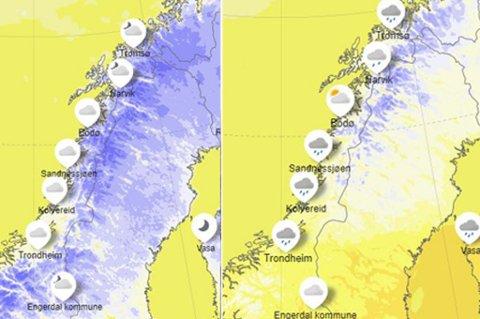 VARME: Bildet til venstre viser temperaturen søndag ettermiddag. Det blå viser minusgrader - jo mørkere jo kaldere, mens det gule og oransje er varmegrader, der gut viser opp til 10 grader, og oransje over 10 grader. Bildet til høyre viser forventet temperatur tirsdag ettermiddag.