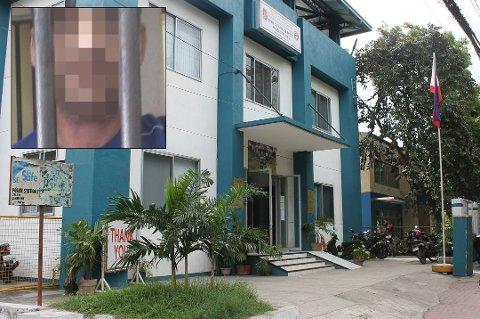 FENGSLET: En 37 år gammel tromsømann (innfelt) har sittet fengslet i Fuente-distriktet i Cebu på Filippinene i 13 dager. Foto: Filippinsk politi/Privat