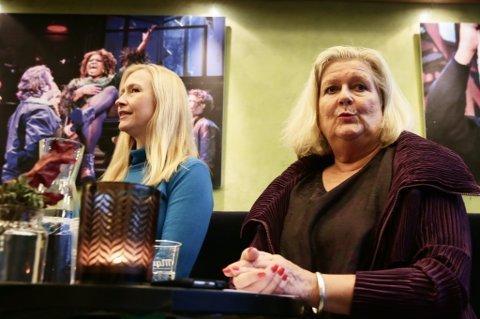 UENIGE: Styreleder på Hålogaland Teater, Renate Larsen (t.v.), sier styret har stilt flere krav til teatersjef Inger Buresund (t.h.) som ikke har blitt innfridd. Fredag ble Buresund avskjediget. Bildet er tatt ved en tidligere anledning.