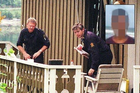 SIKTET: 37-åringen (innfelt) er siktet for drap, voldtekt og ildspåsettelse i forbindelse med dødsfallet til Marie-Louise Bendiktsen (59) i 1998. Her er politiet på åstedet like etter drapet.