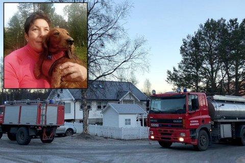 RYKKET UT: Brannvesenet rykket ut til boligen i Sørkjosen torsdag formiddag. Da Jinn kom hjem, ropte naboen at hun måtte holde seg unna huset Foto: Sverre Trygg Haugan/privat