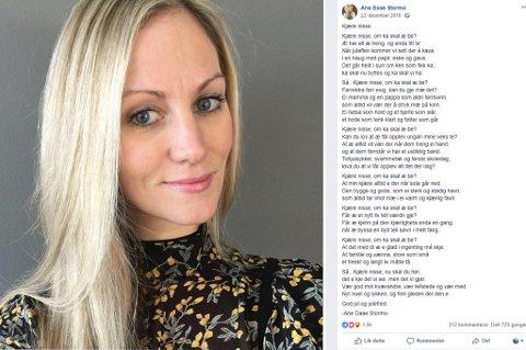 IKKE PÅ RETT MÅTE: Ane Daae Stormos juledikt fra 2016 har blitt delt svært mange ganger på Facebook, men det har ofte blitt delt uten kreditering. Det har hobbydikteren nå sett seg lei på.