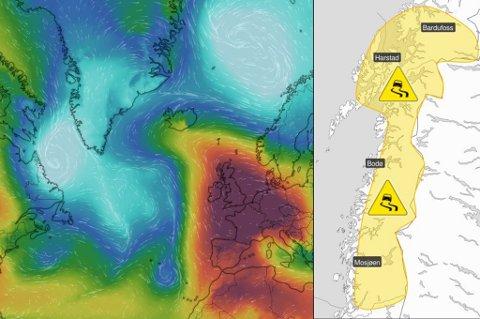 LAVTRYKK PÅ VEI: Høytrykket (i rødt) over Storbritannia og Tyskland presser lavtrykkene fra Atlanterhavet mot Barentshavet (lavtrykk er merket med blått). Dermed blir det ustabilt vær i nord de neste dagene og vanskelige kjøreforhold. Foto: Windy.com/Meteorologisk institutt