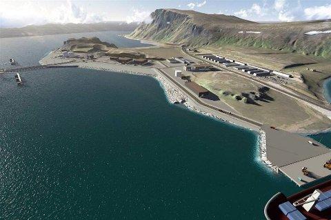 Grafikken viser anlegget på Veidnes utenfor Honningsvåg, hvor Johan Castberg-oljen skulle tas i land. Nå er det høyst uklart om det blit noe av denne utbyggingen. Foto: Pressebilde/ANB