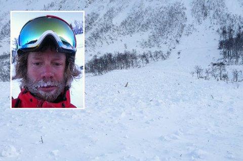 SVAKE LAG: På grunn av vedvarende svake lag i snødekket, risikrer man også å fjernutløse skred. Tommy Skårholen, vaktleder på snøskredvarslingen i NVE (innfelt), anbefaler derfor turfolket i Troms til å ta kloke og trygge trasévalg i helgen.