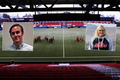 KRITIKK: Til høsten starter NTG Tromsø opp med ungdomsskoletilbud. Universitetslektor i idrettsvitenskap ved UiT, Edvard Hamnvik Sagelv (innfelt t.v), er skeptisk til utvelgesesprosessen, som han mener vil gjøre skolen til en arena for et ekskluderingssamfunn av barn. NTG-rektor Mariann Janson er klar på at NTG ikke skal velge toppidrettsutøvere til ungdomsskolen.