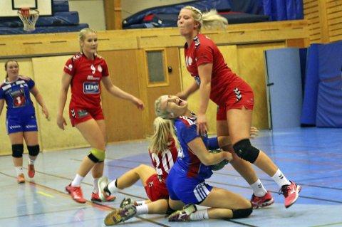 TØFFE TAK: THK har vist seg som et lag som ikke gir seg lett. Her illustrert ved Guro Kristoffersen Lysnes (f.v.), Ingrid Kildalsen (liggende) og Vilde Evensen.