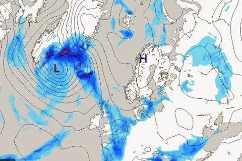 TØRT VÆR: Høytrykket over Nord-Norge holder bygene unna. Det fører til tørt og fint vintervær.