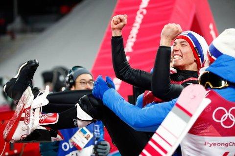SØLVGUTTEN BLE GULLGUTT: Johann André Forfang og Norge tok OL-gull i laghopping mandag! Foto: NTB Scanpix