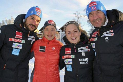 VIVA LAS VEGAS? Team Nord-Norge-hovedtrener Kristian Skogstad (t.v) lovet å spandere tur til Las Vegas på Team Nord-Norge-løperne om alle kvalifiserte seg for verdenscup denne sesongen. Det kan fort bli en realitet i løpet av de neste månedene, og Merete Myrseth (nr to f.v) og Anna Svendsen (nr tre. f.v) og de andre løperne har tenkt å ta treneren på ordet. Til høyre trener Jan Lindvall.