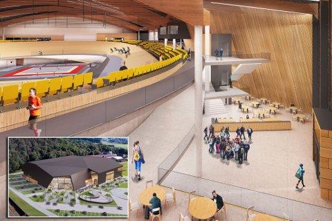 Bildetekst Sola Arena blir et signalbygg ved innkjøringen til Stavanger lufthavn. Illustrasjonen er utført av prosjektets arkitekt, Trollvegg Arkitektstudio AS, Kristiansand.