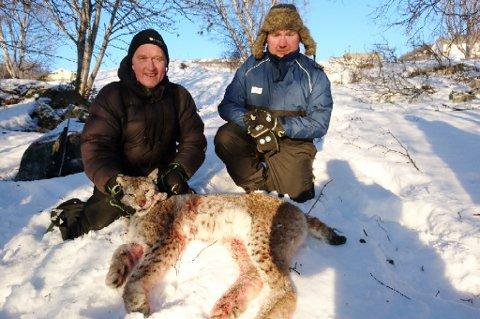 MISTET DYR: Kurt Solheim, som mistet 24 dyr natt til torsdag, og Kenneth Isaksen, som mistet to dyr i natt, sammen med gaupa. Foto: Privat
