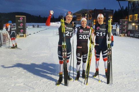 Erik Valnes (til høyre) er tydelig fornøyd med innsatsen i Trondheim.