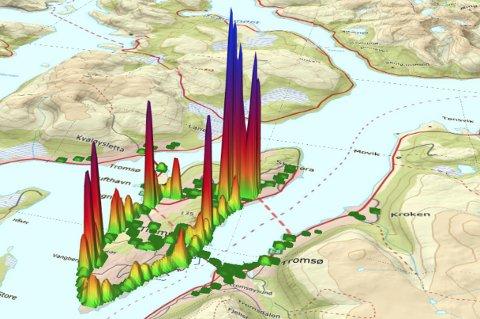 Kartet viser hvor det var mest og minst svevestøv langs veiene i Tromsø tirsdag 20.februar.