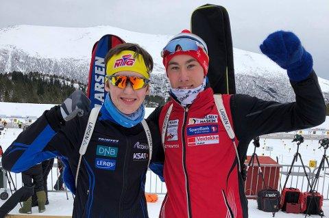 BLINKSKUDD: Trym Silsand Gerhardsen (t.v.) fra Tromsø tar med seg en seier og en andreplass fra norgescupen i skiskyting i helga, mens Morten Hol (t.h.) noterte seg for en tredje- og en sjetteplass.