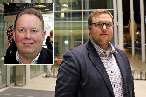 UENIGE: Jarle Heitmann (Ap) (innfelt) og Erlend Svardal Bøe (H) er dypt uenige om Tromsø kommune bør utrede et nytt rådhus. Administrasjonens forslag om å gjøre nettopp det, fikk likevel flertall i formannskapet tirsdag.