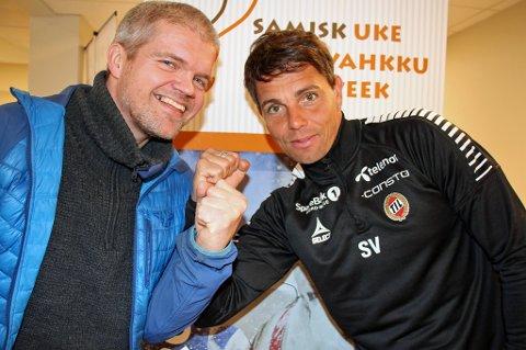 REINKAPPKJØRINGSDUELL: TUILs Gaute U. Helstrup (t.v) og TILs Simo Valakari (t.h) møtes i duell i reinkappkjøring søndag.