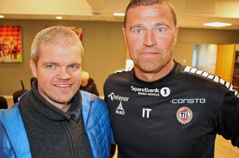 BYTTER KLUBB: Inge Takøy (t.h) har gitt seg som keepertrener i TIL kort tid etter han forlenget avtalen med klubben. Nå blir han i stedet ny daglig leder i TUIL. TUIL-trener Gaute U. Helstrup gleder seg til å få Takøy tilbake til TUIL.