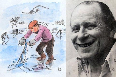 TEGNER: Arnulf Eilertsen ble 89 år gammel. Håndtegneren var blant annet en del av «Tre herrer» sammen med Knut Smistad og Tore Skoglund, der han illustrerte de to andres historier - og gjerne tilførte historiene en ekstra dimensjon. Her er en illustrasjon fra Nordlys, fra Prestvannet i forbindelse med en artikkel om VM på skøyter. Bak skimter du Tinden i det fjerne.
