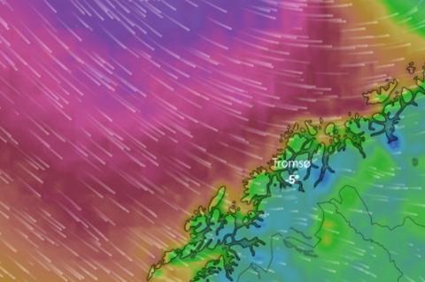 VIND: Kraftig vind er ventet inn over Troms og Finnmark til helga. Her er en av vindprognosene.