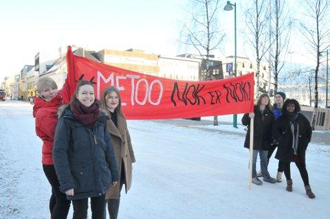 METOO-TOG: Hovedparolen i årets 8. marstog handler om #Metoo. Trine Hagbo, Michelle Buer, Maren Gåre Bakkevoll, Hanne Stenvaag, Marte Nustad og Seynab Mikalsen tror kampanjen bidrar til stor oppslutning om toget.