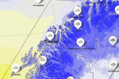 BLÅTT: De neste dagene blir det kaldere og etterhvert vil nedbøren falle som snø. Foto: Yr/skjermdump