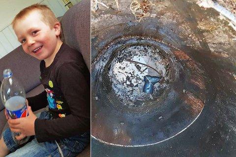 BLE HEIST OPP: Den ene støvelen ble liggende igjen etter at Tobias (6) ble heist opp fra septiktanken. I dag er seksåringen ved godt mot. Han ble ikke skadet i hendelsen.