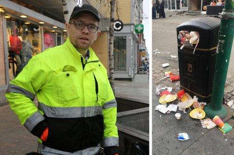 Rune Thomas Bakkland og kollegene hos Tromsø Asvo har nok å gjøre etter en lang 17.mai-fest i Tromsø sentrum.