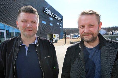 Stein Hugo Bjerkli og Håvard Vatne er klar for storsating på Jekta storsenter. Foto: Stian Saur