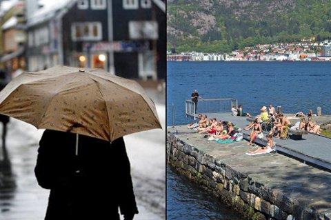 Mens folk i Tromsø har måtte ta frem paraplyen, har folk i Bergen kunnet sole seg og bade de siste ukene. Her fra Helleneset i Bergen mandag. Foto: Yngve Olsen/Emil Weatherhead Breistein