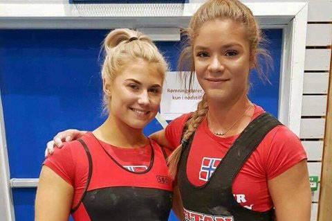 GOD VM-OPPLEVELSE: Dina Lorentzen (t.v.) fra Tromsø gjorde det skarpt i VM i styrkeløft i Canada. Her sammen med Isabell Adolfsen ved en tidligere anledning.