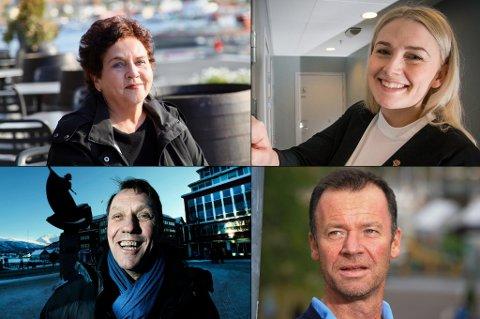 MEST POPULÆRE: Disse fire er mest populære som Kristin Røymos etterfølger som Aps ordførerkandidat, ifølge en måling Infact har gjort for Nordlys. Øverst fra venstre: Tove Karoline Knutsen, Ragni Løkholm Ramberg. Nede fra venstre: Gunnar Wilhelmsen, Roger Ingebrigtsen.