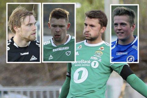 MED: Fra venstre: Sondre Flaat, Dan-Roger Roland, Jonathan Barlow og Sondre Tunstad har alle kommet seg med på vårens lag i 3. divisjon avdeling 6. Alle foto: David Nyvoll.