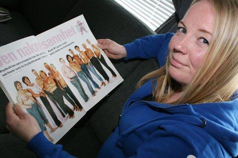 STO ÅPENT FRAM: Sammen med elleve andre kvinner med brystkreft figurerte Anita Astrup Hansen i ukebladet KK i bar overkropp. På det tidspunktet var hun 24 år og hadde fjernet ett av brystene.