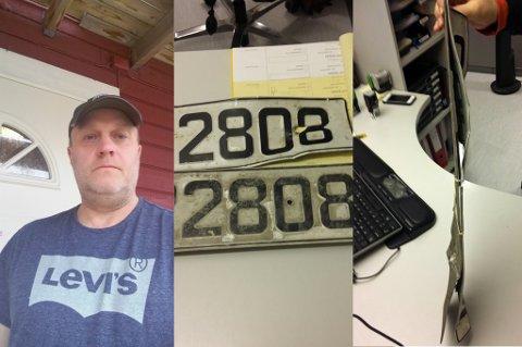 BØYD: Roy Larsen viser frem bilskiltene, som fikk hard medfart natt til 1.juledag.