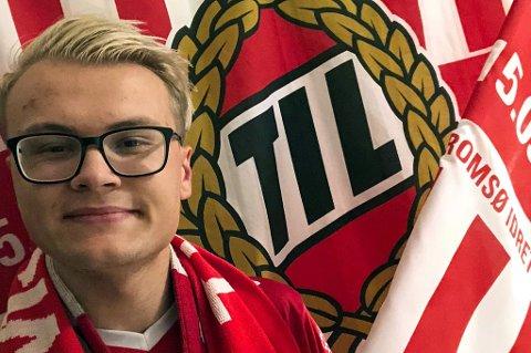 BETALER FOR ANDRE: Stian Martinius Lindstad er lidenskapelig TIL-supporter. Han studerer i Porsgrunn og har ikke mulighet til å være på Alfheim selv. I stedet betaler 22-åringen kampbillett for at en annen person kan se TIL-kamp, fordi han mener TIL fortjener flere tilskuere.