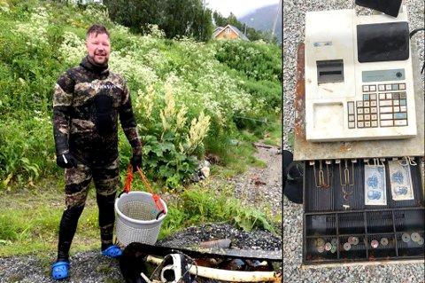 Stian Nordby Kristiansen fant en god del søppel på sin lille utflukt, i tillegg til kassaapparatet.