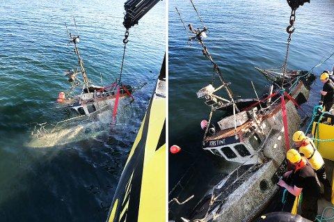 TO ÅR: Nesten to år etter at sjarken «Kristine» sank i Nord-Troms, ble båten hevet. Det skjedde i midten av mai, i regi av et privat firma. Firmaet gjorde dette vederlagsfritt, mot at det fikk ta over båtvraket. Foto: Privat