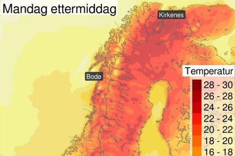 VARMT: Kartet viser forventet temperaturen mandag ettermiddag. Det er i indre strøk det er ventet å bli aller varmest.