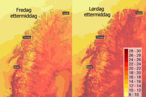 VARMT: Slik er prognosene for fredag og lørdag. Det er ventet høye temperaturer og sol i hele Troms. Foto: Yr/Twitter
