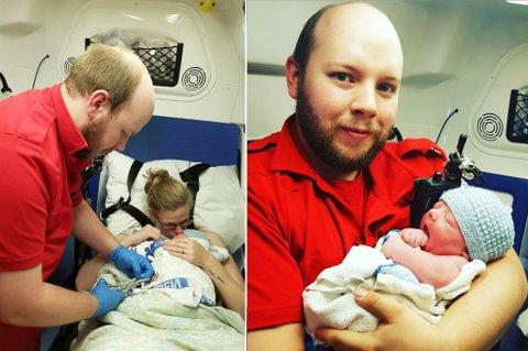 RYKKET UT: Ann-Kristin Bakke og David Andersen fikk lørdag en sønn. Andersen måtte selv rykke ut til huset sitt da alarmen gikk. På bildet til venstre klipper han navlestrengen. Foto: Privat