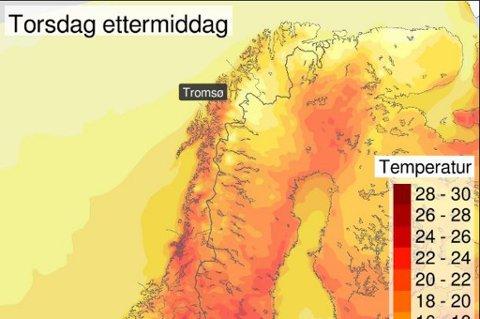 VARMT: Kartet viser temperaturer torsdag. Dette blir den siste fine dagen i nord på lang tid.