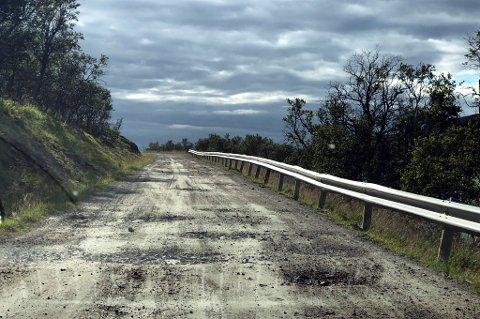 HULL: Du skal være rimelig god i slalåm for å komme unna alle hullene på Skarsfjordveien.