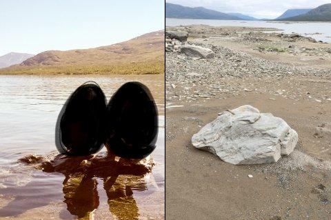 SAMME PLASS: Disse to bildene er tatt på samme plass, i august 2015 og i august i år. Vannstanden er 4-5 meter lavere nå enn for tre år siden, ifølge fotograf Bjørn Shulstad. To badende barn er sladdet på bildet fra 2015.