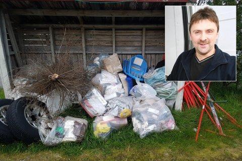 SØPPEL-LEI: Karl-Alberth Hansen er «drit lei» søpla som har ligget utenfor huset i Oldervika.
